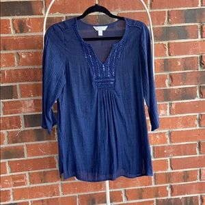 Navy blue below the elbow blouse
